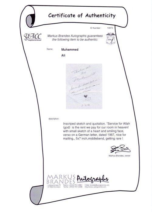 Muhammad Ali persönlicher Brief