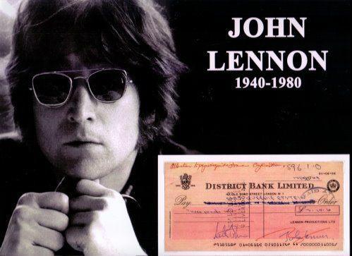 John Lennon signierter Scheck