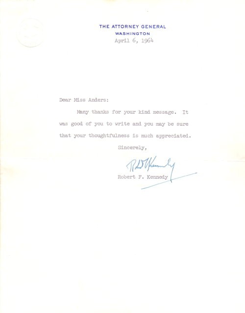 Robert F. Kennedy signierter Brief