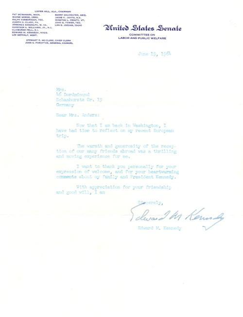 Edward Kennedy signierter Brief
