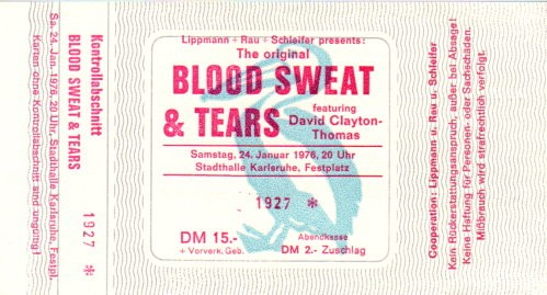 Blood, Sweat & Tears Konzert-Ticket