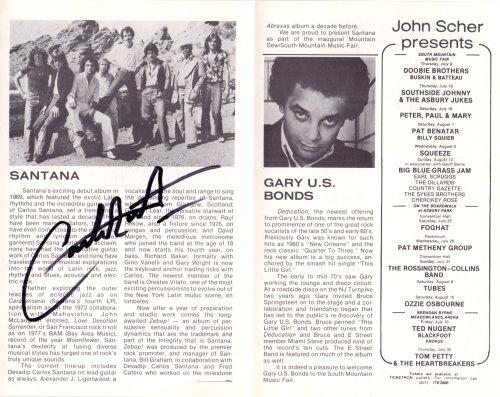 Carlos Santana signiertes Tour-Programm