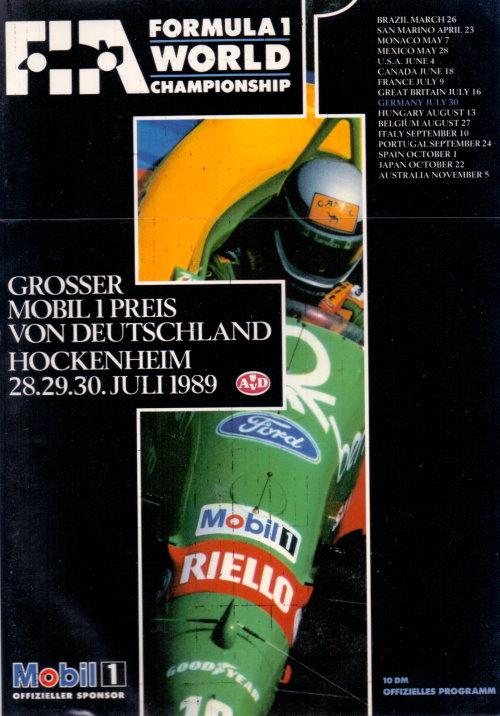 Offizielles Formel 1 Programm von Juli 1989
