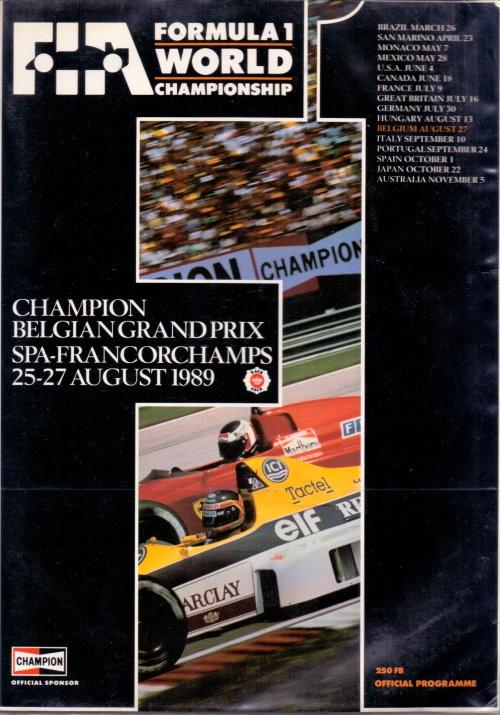 Offizielles Formel 1 Programm von August 1989