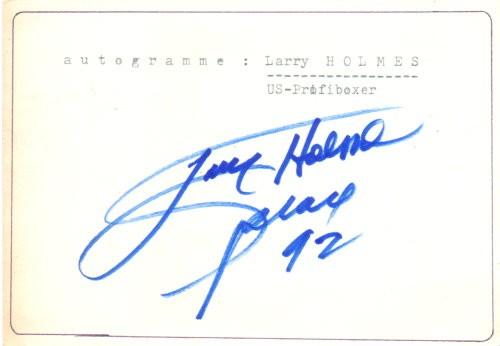 Larry Holmes signierter Zettel