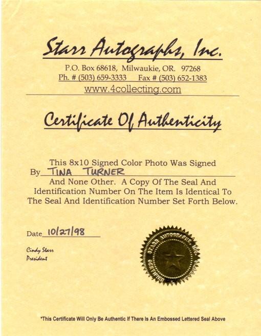 Tina Turner Autogramm