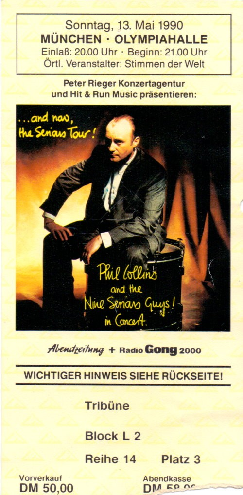 Phil Collins Autogramm & Konzertticket
