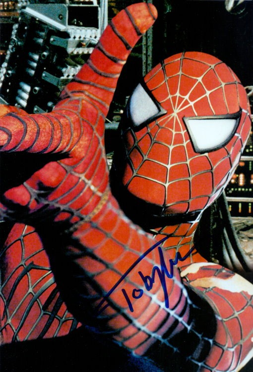 Tobey Maguire Autogramm als SPIDERMAN