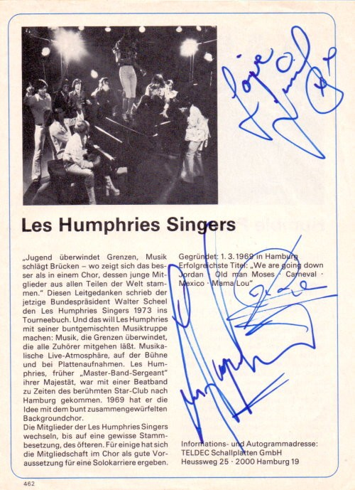 Les Humphries Singers Autogramme In-Person