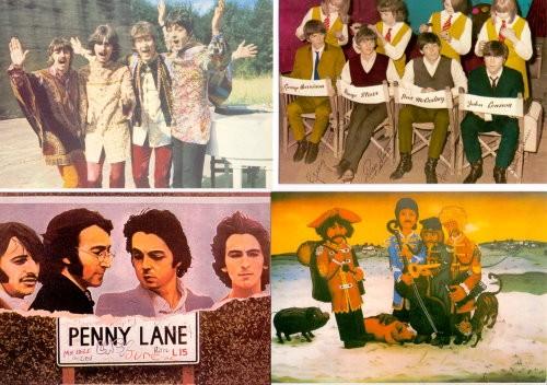 The BEATLES - 4 außergewöhnlich colorierte Bildpostkarten