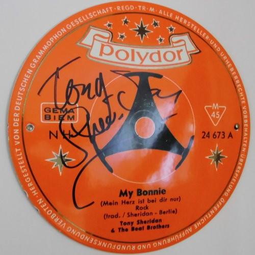 Tony Sheridan - original Autogramm auf Blechschild