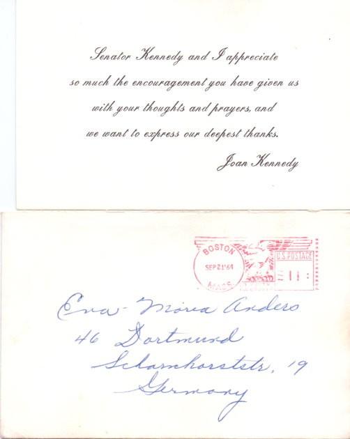 Original Grusskarte von Joan Kennedy (Frau von Edward Kennedy)