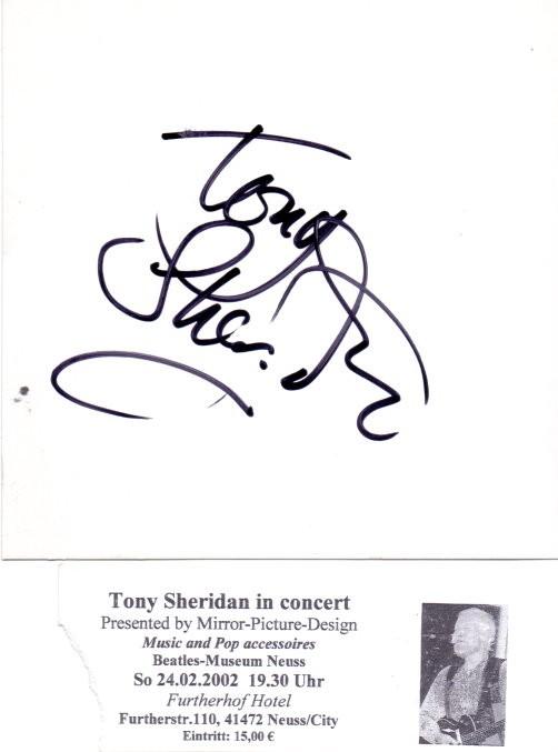 Tony Sheridan original IN-Person Autogramm